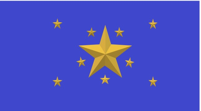 Ten golden stars have been set upon a royal blue background. A large central star dominates, with nine smaller stars angled around it, four in the corners of the image and five nestled between the points of the main star.