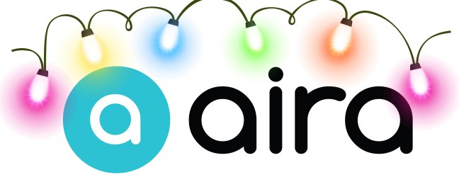 This image features the Aira logo which incorporates Aira written in a black font and the lowercase letter 'A' in a white font with a blue circle surrounding said letter. Arching over it, colorful string Christmas lights of vibrant pink, yellow, blue, green and orange illuminate the logo below.