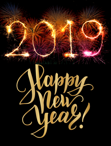 In sparklers, Happy New Year! 2019 is emblazoned against a black, firework illuminated background. On the number 2019, the lettering appears to spark as though it has been written in actual flame.